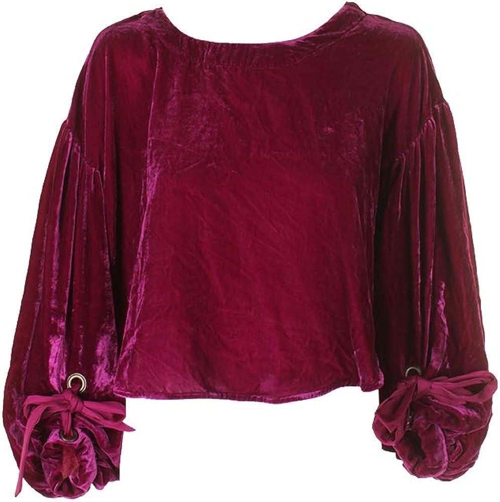 Free People Womens Gimme Some Lovin Velvet Ribbon Tie Blouse Pink S