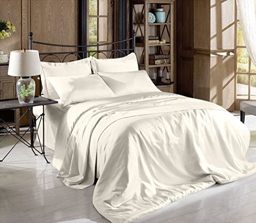 Hight Thread Count Solid Color Soft Silky Charmeuse Satin Luxury and Super Soft Bed Sheet Set (Ivory, - Ivory Satin Sheet