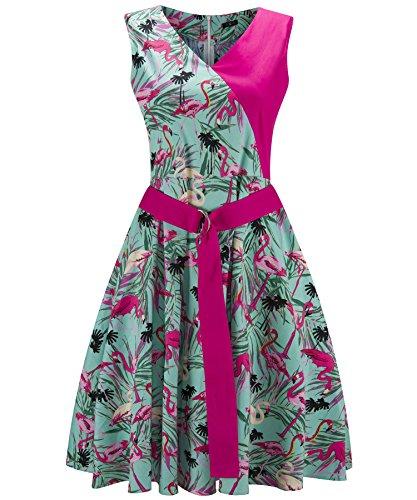 Il Con Cocktail Maniche Donna '50 Verde Cintura Senza Bellissima Nozze Di Per Abiti Anni Santimon Vintage Florals HwgRq7T