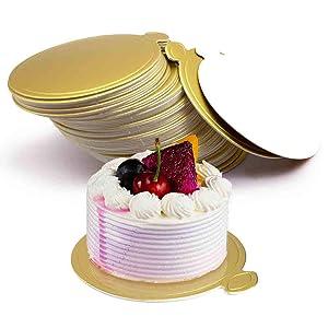 HANSGO Mini Round Golden Cardboard Cake Base, Mousse Cake Boards100PCS Cake Paper Plates Circle Cardboard Base Dessert Board Base Grease
