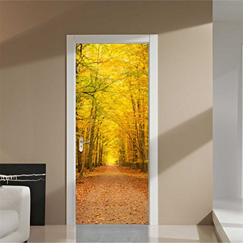 Fymural 3D Wall Mural Door Wallpaper Stickers Deciduous Leaves Vinyl Removable 3D Decals for Home Decoration ()