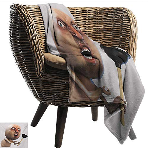 (Davishouse Humor Decorative Throw Blanket Why You No with Plunger Guy Meme with Long Face Angry Grumpy Washroom Design Print All Season Light Weight Living Room 30