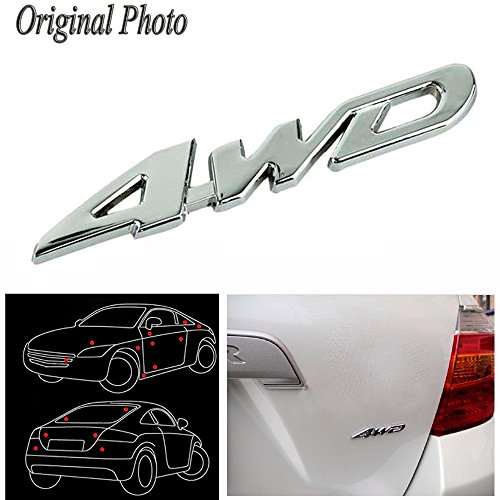 CHAMPLED CHROME 4WD LETTER NUMBER CAR AUTO 3D TOP GRADE EMBLEM BADGE DECALS SYMBOL For TOYOTA LEXUS ACURA NISSAN MITSUBISHI SUBARU MAZDA ()