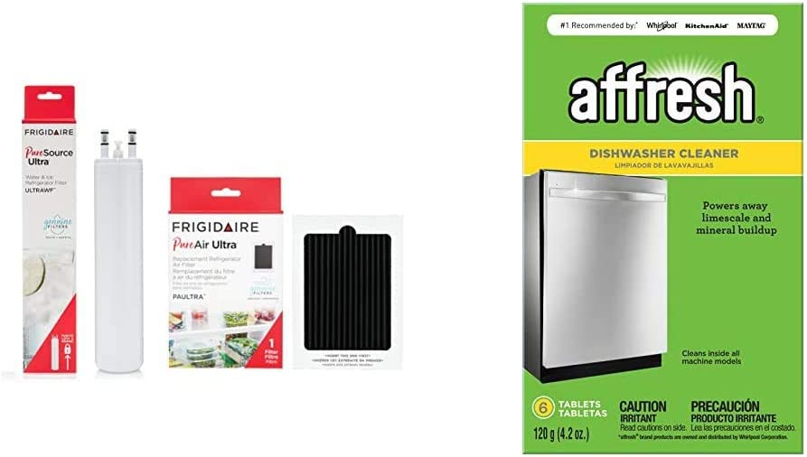 Frigidaire FRIGCOMBO ULTRAWF Water Filter & PAULTRA Air Filter Combo Pack & Affresh W10549851 Dishwasher Cleaner | Formulated to Clean Inside All Machine Models, 6 Tablets, Original Version