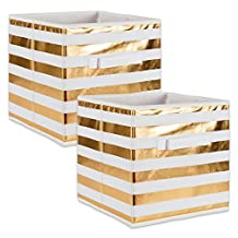 """DII Foldable Fabric Storage Containers for Cube Organizers, Toys, Cloths or Knick Knacks (Set of 2), 13 x 13 x 13"""", Stripe Gold"""