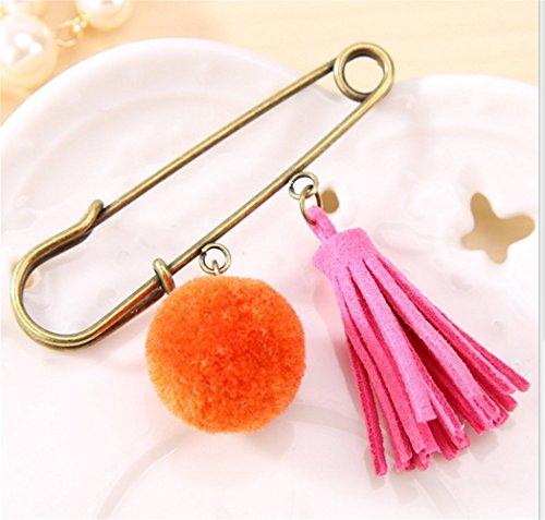 Lilith li Sweet Wool Ball Temperament Tassels Large Safety Pin 4pcs / set(YMQ)