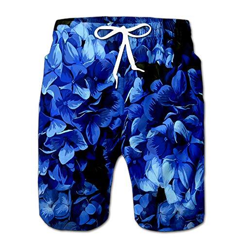 (Blue Realistic Hydrangea Lavender of Flowers Vintage Gift Wrappi Drawstring Shorts Beach Baskestball Pants L)