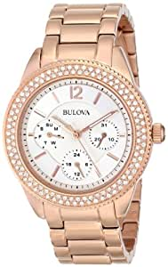 Bulova 97N101 - Reloj para mujeres, correa de acero inoxidable color oro rosa