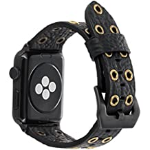 FALANDI For Apple Watch Band 42mm Black Leather, Rock Style Hollow Rivets Genuine Leather iWatch Strap Women Men Replacement WristBand for Apple Watch Series 3 Series 2 Series 1 - Black