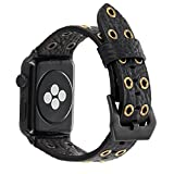 For Apple Watch Band 42mm Black Leather, FALANDI Rock Style Hollow Rivets Genuine Leather iWatch Strap Women Men Replacement WristBand for Apple Watch Series 3 Series 2 Series 1 - Black