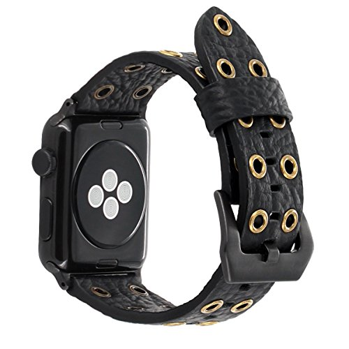 (for Apple Watch Band 44mm 42mm Black Leather, FALANDI Rock Style Hollow Rivets Genuine Leather iWatch Strap Women Men Replacement Wristband for Apple Watch Series 4 Series 3 Series 2 Series 1 - Black)