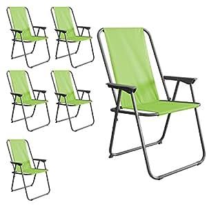 Silla de camping silla de jardín Set de 6playa silla plegable silla plegable en verde