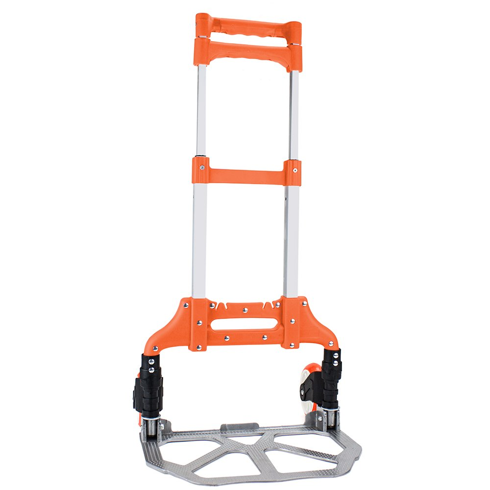 150 lb. Capacity Aluminum Hand Truck, Folds Down to Just 2'' by Knack (Orange)