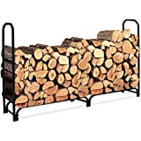 8 ft Outdoor Fire Wood Log Rack for Fireplace Heavy Duty Firewood Pile Storage Racks for Patio Deck Metal Log Holder Stand Tubular Steel Wood Stacking Outside Fire place Tools Accessories Black