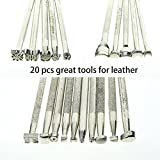 BIGTEDDY-20pcs-Leather-Working-Saddle-Making-Stamps-Tools-Set-for-Leathercraft-Carving-DIY-Handmade-Art-Silver