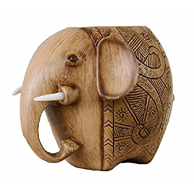Wood Carving Elephant Pencil Holder Fashion Creative Wooden Pen Holder