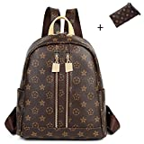 ZUNIYAMAMA Casual Purse Fashion School Leather Backpack Crossbady Shoulder Bag Mini Backpack for Women & Teenage Girls brown waterproof