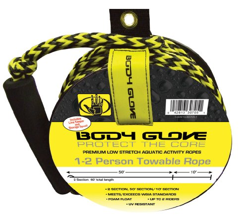 Body Glove 2 Person Tube Rope with Spool (Yellow/Black, 60-Feet)