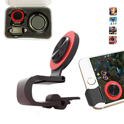 PRUGNA Mobile Joystick, Phone Game Rocker with Phone Ring Holder Touch Screen Joypad for iPhone/Smart Phones (Red)