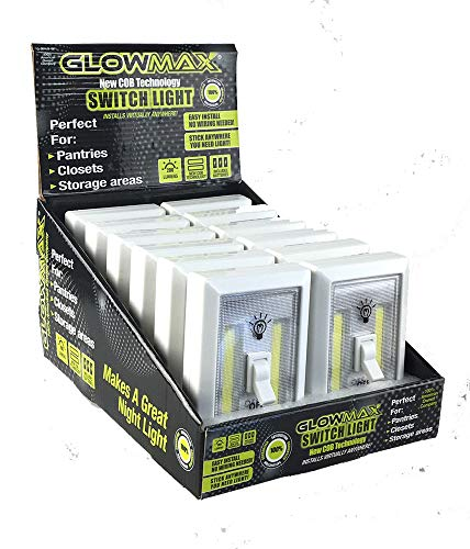 GlowMax 200 Lumen Switch Lights for Power Outages, Night Lights, Storage Sheds, Basements, Closets, 12 Pack by GLOWMAX