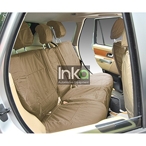 Inka Corp. Range Rover Sport L494 5 Seater Tailored Waterproof Rear 60/40 Load Through Seat Covers with Centre Armrest 2013-2016 Heavy Duty Right & Left Hand Drive Beige - INK-WSC-7113: