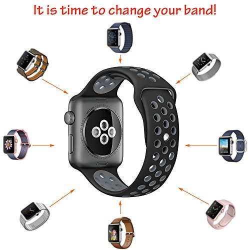 OULUOQI Apple Watch Band 42mm, Soft Silicone Replacement Band for Apple Watch Series 3, Series 2, Series 1, Sport , Edition, M/L Size ( Black/Gray )
