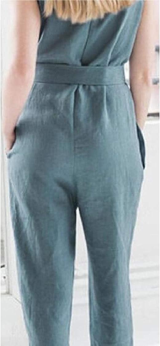 Pandapang Women Casual Sleeveless Belt Wide Leg Scoop Neck Long Rompers Jumpsuits