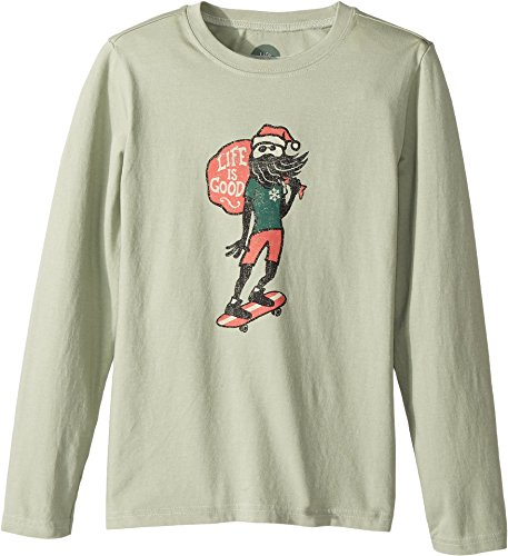 Life is good Boy's B Long Sleeve Boys Tee Holiday Skater Dstgrn T-Shirt, Dusty Green, Small