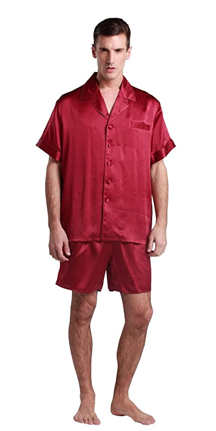 b621fb0135 LILYSILK Men s Silk Pyjamas Shorts Set Notched Collar 22 Momme Pure Silk  Claret Size 48 XXXL  Amazon.co.uk  Kitchen   Home