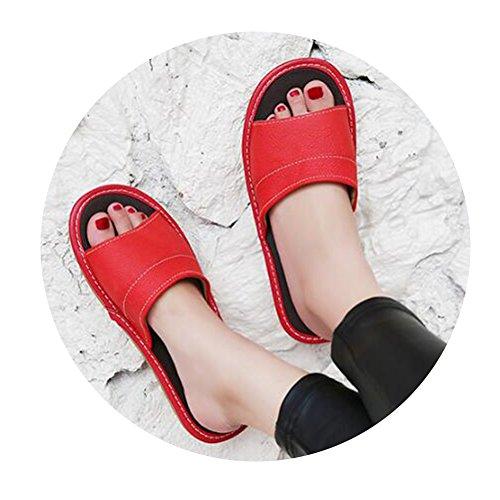 TELLW Uomo Donna Primavera Estate Autunno Coppie Pantofole in Pelle di Vacchetta Pantofole in Pelle Pantofole Pavimento in Legno