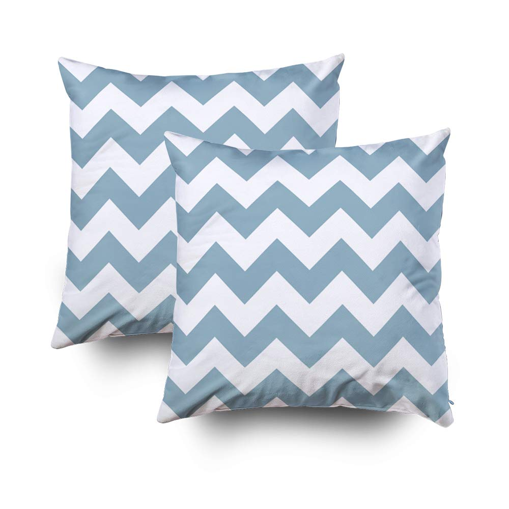 Musesh Pack of 2 Halloween Chevron Zigzag Accent Aquamarine Blue Cushions Case Throw Pillow Cover for Sofa Home Decorative Pillowslip Gift Ideas Household Pillowcase Zippered Pillow Covers 18X18Inch