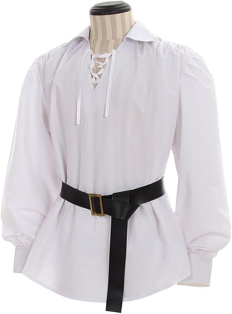 COUCOU Age Camisa Medieval Hombre Cordones Camisa Pirata con Cinturón: Amazon.es: Ropa y accesorios