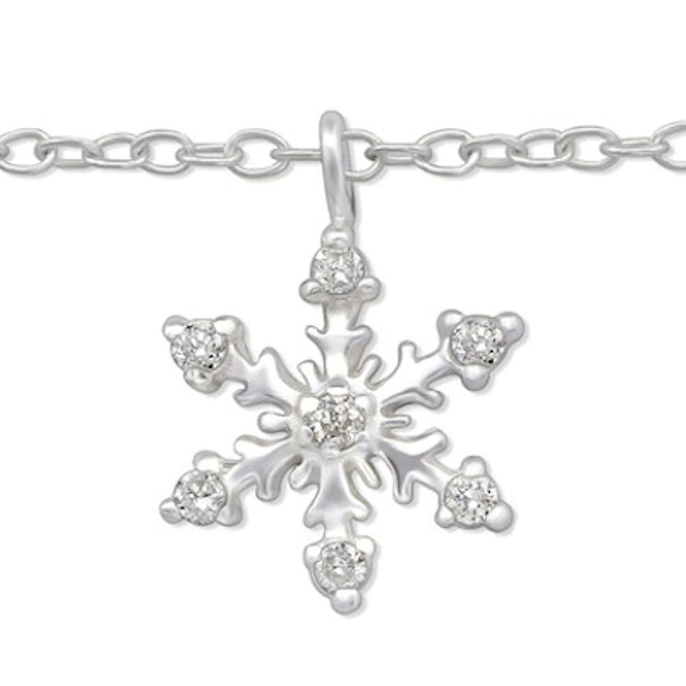 So Chic Jewels - 925 Sterling Silver Snowflake Anklet with Cubic Zirconia