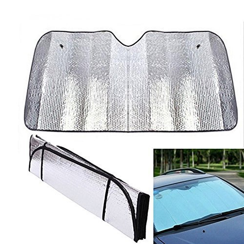 (Front Windshield Sun shade, Black Jumbo 5 Layers Reflective Accordion Folding Auto Sunshade for Car Truck SUV)
