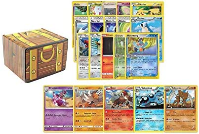 100 Assorted Pokemon Cards: Features 5 Rares with 120 HP or Higher - All Cards are Authentic - Includes Golden Groundhog Treasure Chest 100 Cards Capacity Storage Box!