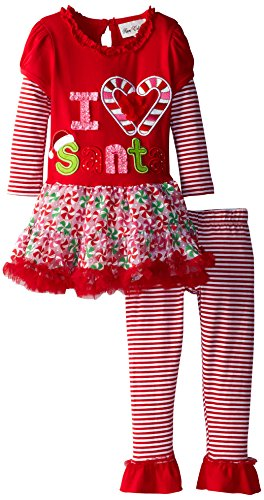 Polyester Heart Red Appliques (Rare Editions Little Girls' I Heart Santa Candy Cane Tutu Set, Red, 2T)