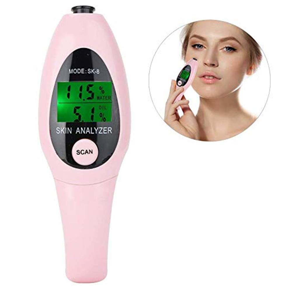 Digital Analyzer Monitor for Skin Moisture Oil Skin Testing with LCD Display - Portable Skin Analyzer Battery Operated Skin Care for Traveling,Home,Beauty Salon