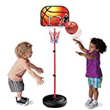 Liberty Imports Kids Portable Mini Basketball Hoop and Stand - Height Adjustable Toy Set with Metal Rim, Ball and Net - Indoor Outdoor Kit for Toddlers, Children