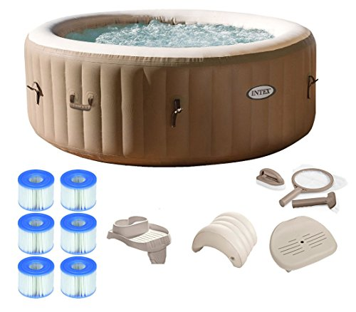 (Intex Pure Spa 4-Person Inflatable Portable Hot Tub Ultimate Bundle Package)