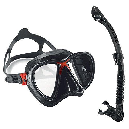 Cressi Big Eyes Evolution Mask and Alpha Ultra Dry Snorkel Combo, Black/Red