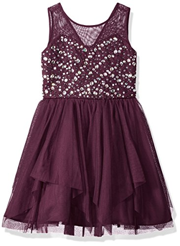 Tween Diva Big Girls' Jeweled Special Occasion Dress, Wine, (Purple Jeweled Dress)