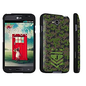 DuroCase ? LG Optimus L70 / LG Optimus Exceed 2 Hard Case Black - (Army Camo Monogram J)