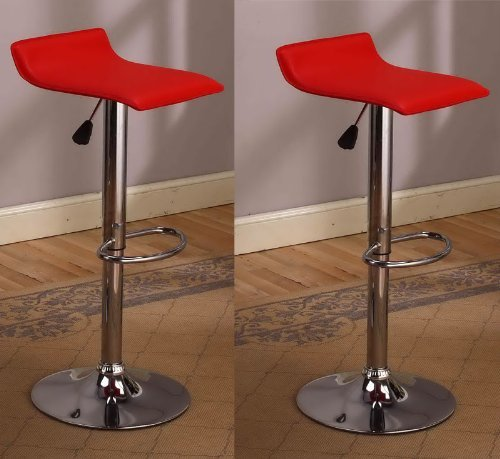 jersey seating® 2 x Vinyl Air Lift Adjustable Swivel Bar Stools, Pack of 2 (2002)