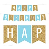 Andaz Press Hanging Pennant Banner Party Decorations, Gold Glitter, Baby Blue, Happy Birthday, 1-Pack, Approx. 5-Feet, Boys 1st 2nd 3rd 4th Twins Birthday Themed Decor