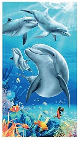 Toalla De Playa Grande Para Mujer Hombre XXL 100x180cm Microfibra Azul Delfines Toalla De Baño Ideal Para La Playa Piscina o Ducha Yoga: Amazon.es: Hogar