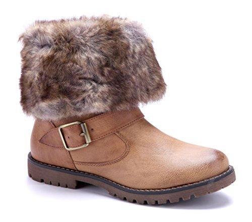 Schuhtempel24 Damen Schuhe Winterstiefeletten Stiefel Boots Blockabsatz Schnalle/Schlupf 3 cm Camel