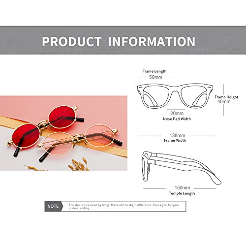 estuche círculo Eyewear con hombres sol Lentes el Sun Retro para Mujeres con metal Marco de lente inspiradas redonda de Punk Gafas Glasses de Rojo sol en Vintage Negro Steam vOxgwPUvq