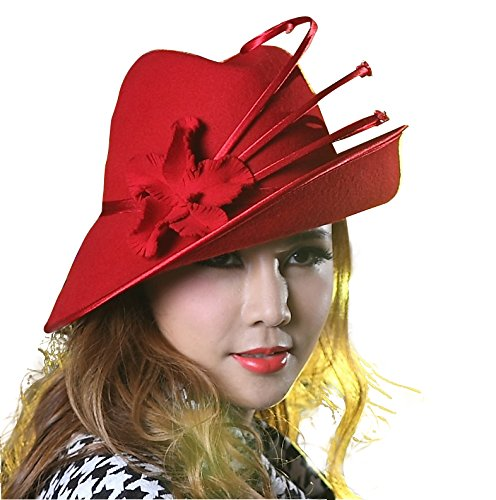 June's Young Fashion Wool Felt Hats Women Winter Hat Fedoras (Red)]()