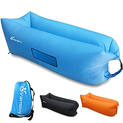 Vansky Outdoor Inflatable Lounger Hammock Portable Air Couch Air Filled Beach Lounger,Nylon Fabric Hangout Sofa Bag, Indoor Inflatable Couch for Camping,Beach,Park,Backyard
