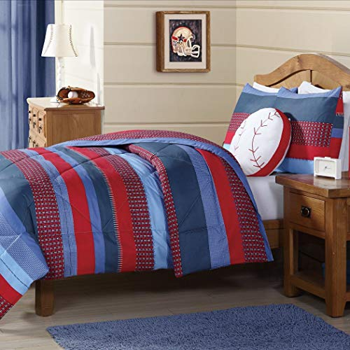 (DH 2 Piece Kids Boys Navy Blue Red Stripes Comforter Twin Set, Horizontal Rugby Striped Bedding Sports Themed Team Colors, Nautical Teen Solid Colorful Pattern Checked Polyester Dorm College)
